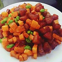 青豆胡萝卜炒腊肠