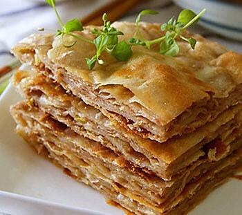 千层肉饼,剩下的饺子馅饺子皮有去处了。