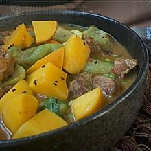 晨间食光:丝瓜咖喱蟠桃牛肉饭