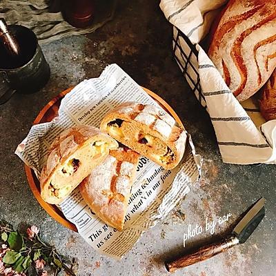 乳酪坚果蔓越莓咖啡面包 波兰种软欧