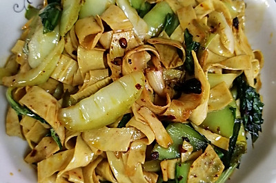 青菜炒油豆皮