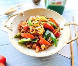 五花肉双椒炒豆腐皮#晒出你的团圆大餐#的做法