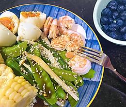 减脂餐虾仁鸡蛋水煮蔬菜沙拉(自制万能油醋汁)的做法
