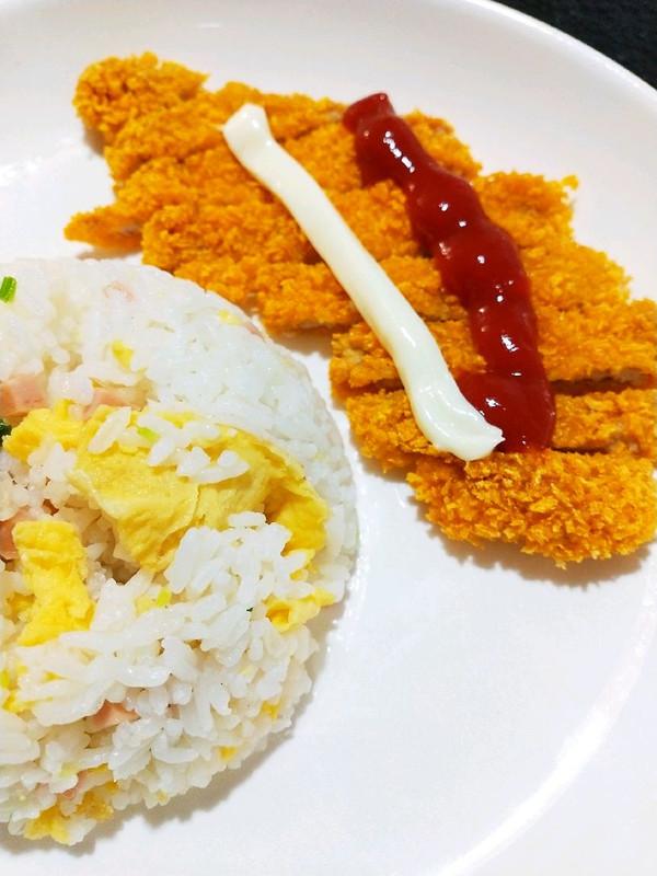 丘比沙拉酱香脆美艳~炸猪排套饭的做法