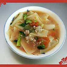三鲜面片(解决剩余馄饨皮/饺子皮)
