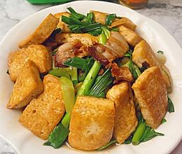 大蒜苗焖豆腐的做法
