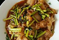 炒银耳蒜苔肉的做法