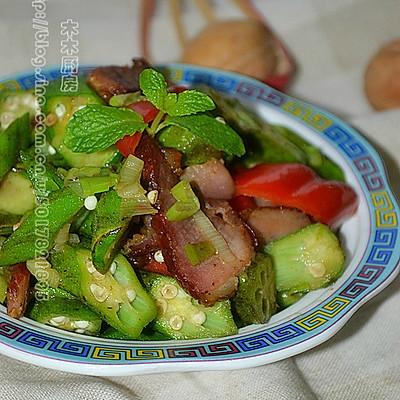 秋分时节养生菜---秋葵炒腊肉