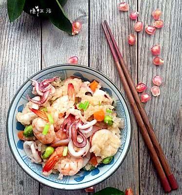 五彩海鲜饭---利仁电火锅试用菜谱4
