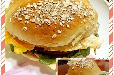 自制汉堡(两大两小)一家四口的早餐