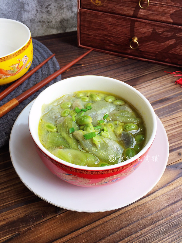 #花10分钟,做一道菜!#丝瓜烩毛豆的做法