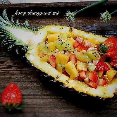 时令水果炒鸡丁-多彩菠萝船