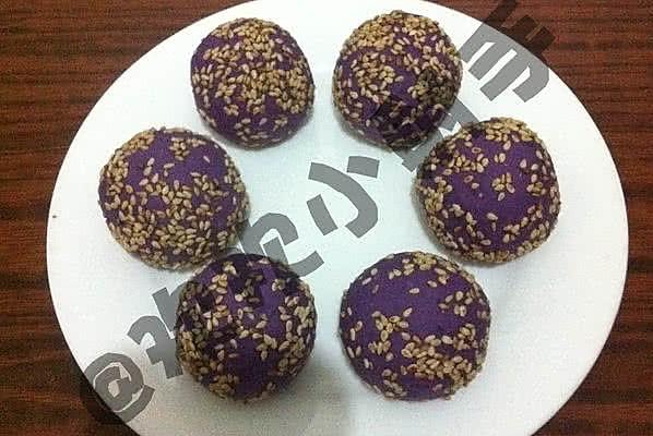 紫薯菠萝麻球的做法