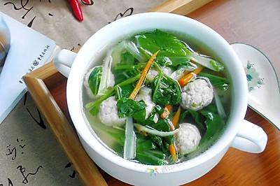 -小白菜肉丸汤