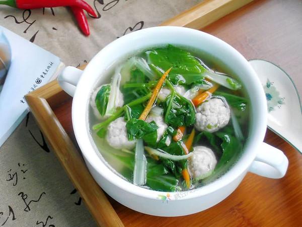-小白菜肉丸汤的做法