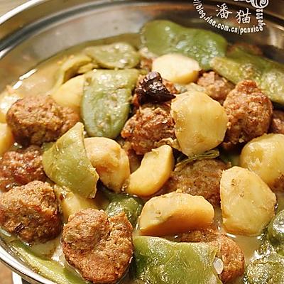 油豆角小土豆炖肉丸