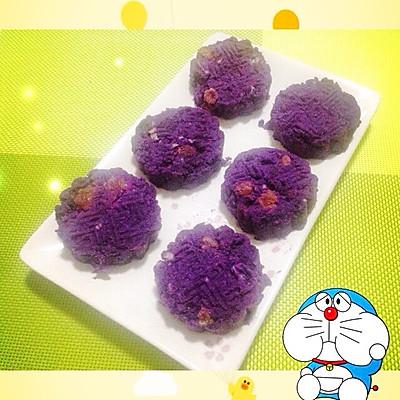 奶香紫薯饼的做法 步骤4