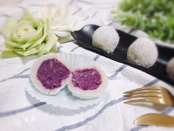 Q弹软糯椰蓉紫薯糯米糍 宝宝喜欢的简单快手小吃下午茶的做法