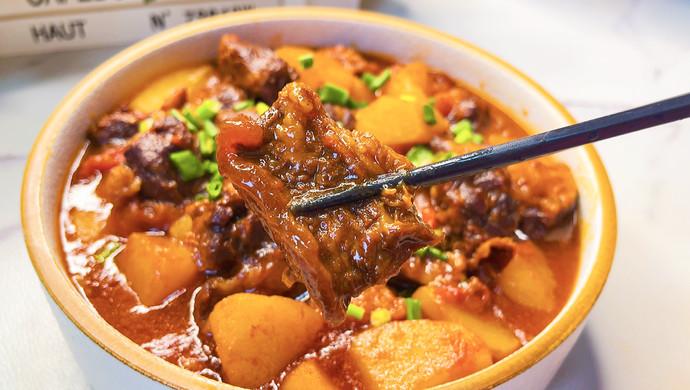开胃下饭的番茄土豆炖牛腩,牛肉软烂入味