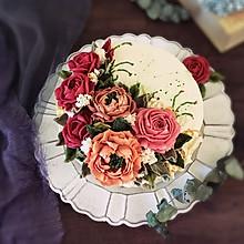 瑞士奶油霜裱花蛋糕#暖色秋季#