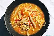 番茄菌菇蛋汤莜面鱼鱼的做法