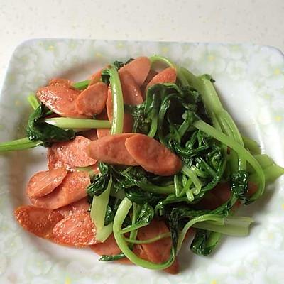 简单而且好吃的火腿肠炒青菜