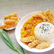 孜然鸡肉条配咖喱土豆饭