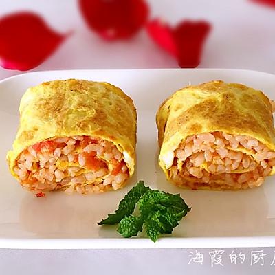 西红柿炒米饭鸡蛋卷