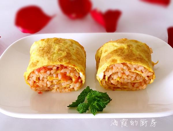 西红柿炒米饭鸡蛋卷的做法