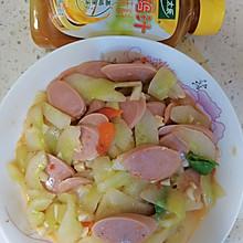 #太太乐鲜鸡汁玩转健康快手菜#鸡汁翡翠青瓜炒火腿肠