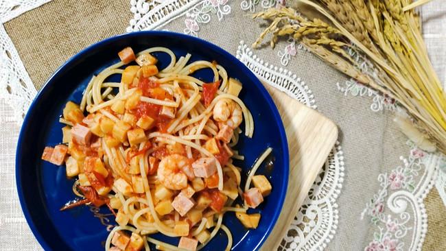 西红柿虾仁意大利面 减肥可以吃的幸福料理的做法