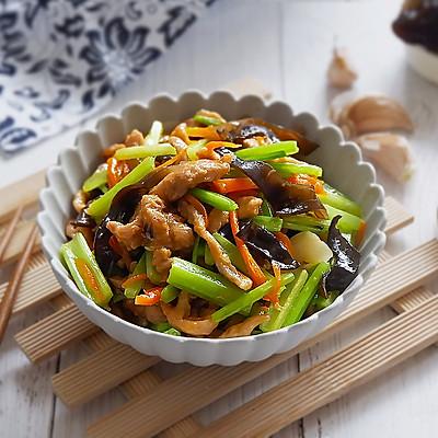 多彩芹菜炒肉丝