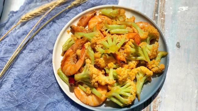 菜花炒虾的做法