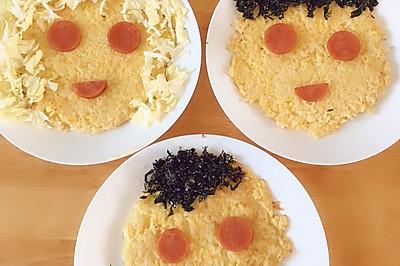 一家三口新手快速早餐,鸡蛋米饭饼