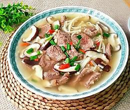 双菇牛腱(牛肉)汤(养生菜)的做法