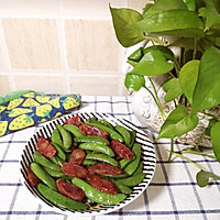 #肉食主义狂欢#广式腊肠炒甜豆的做法图解5