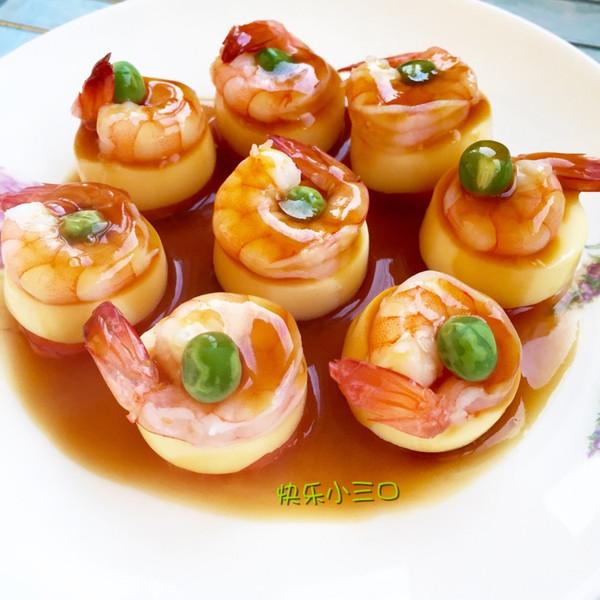 一口鲜豆腐蒸虾的做法