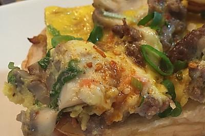 牛肉蘑菇芝士蛋饼