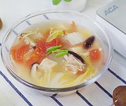 减脂番茄蘑菇蔬菜汤,一个星期瘦五斤#洗手做羹汤#的做法