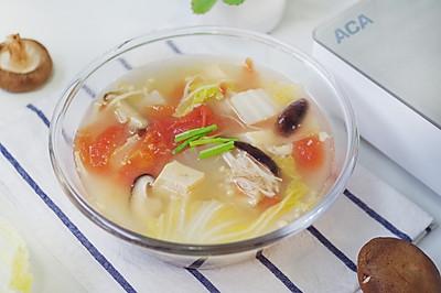 减脂番茄蘑菇蔬菜汤,一个星期瘦五斤
