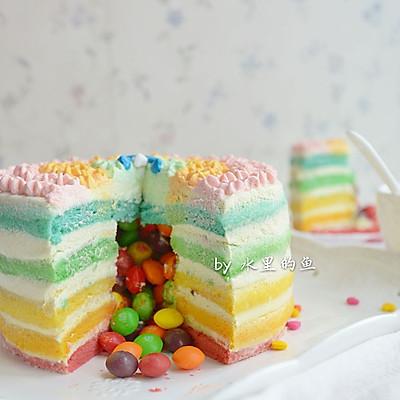 彩虹流心裸蛋糕