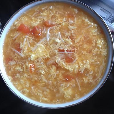 番茄金针菇蛋花汤