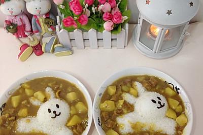 儿童餐-奔跑的小兔子之咖喱牛肉土豆饭