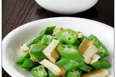 豆干炒秋葵