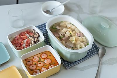 腌笃鲜+香菇腊肠焖饭+虾仁蒸蛋