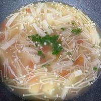金针菇虾仁豆腐汤#花10分钟,做一道菜!#的做法图解11