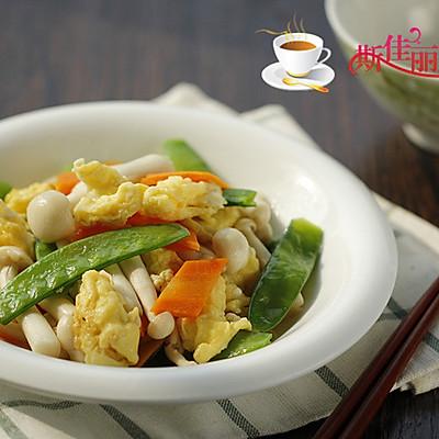 荷兰豆海鲜菇炒鸡蛋