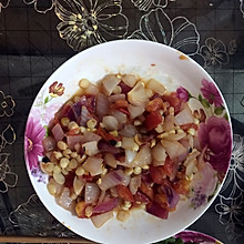 洋葱玉米炒番茄