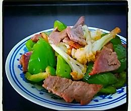青椒松花菜炒腊肉的做法