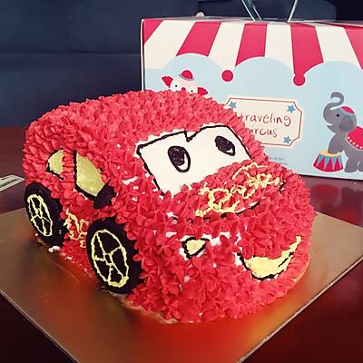 小汽车生日蛋糕~8寸戚风圆模版